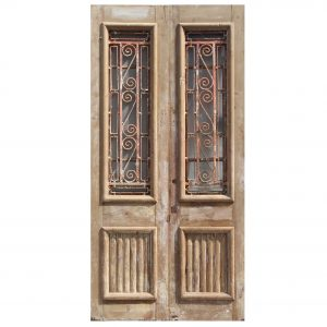 """Salvaged Pair of 44"""" French Colonial Doors with Iron Inserts-0"""