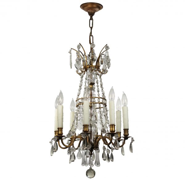 Antique Neoclassical Brass Chandelier with Prisms-0