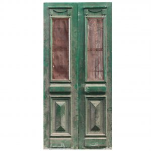 "Salvaged Pair of 42"" French Colonial Doors with Iron Inserts-0"