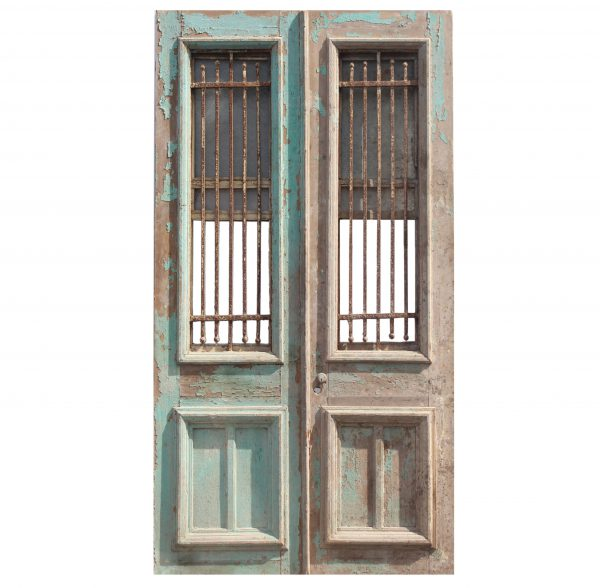 """Reclaimed Pair of 47"""" French Colonial Doors with Iron Inserts-0"""