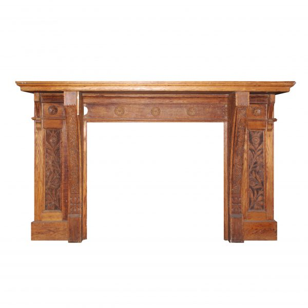 Antique Eastlake Oak Fireplace Mantel, c.1890-0