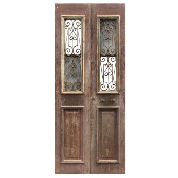 """Reclaimed Pair of 40"""" French Colonial Doors with Iron Inserts-0"""