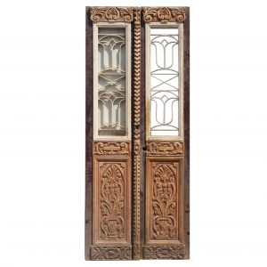 """Reclaimed Pair of 36"""" French Colonial Doors with Iron Inserts-0"""
