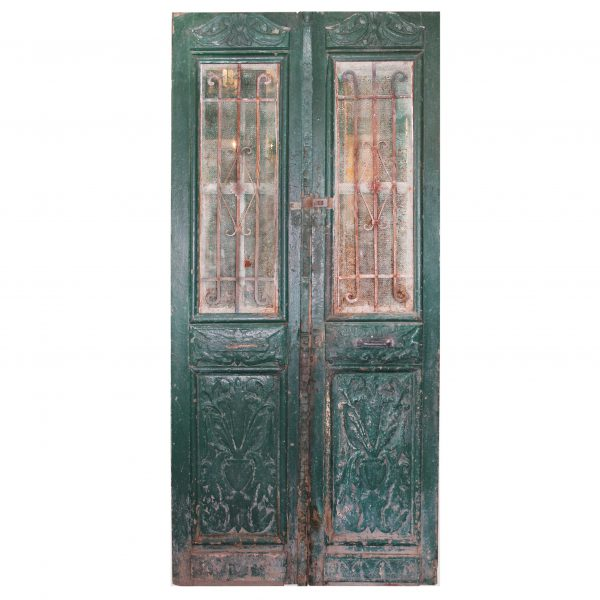 """Pair of Antique 46"""" French Colonial Doors with Iron Inserts-0"""