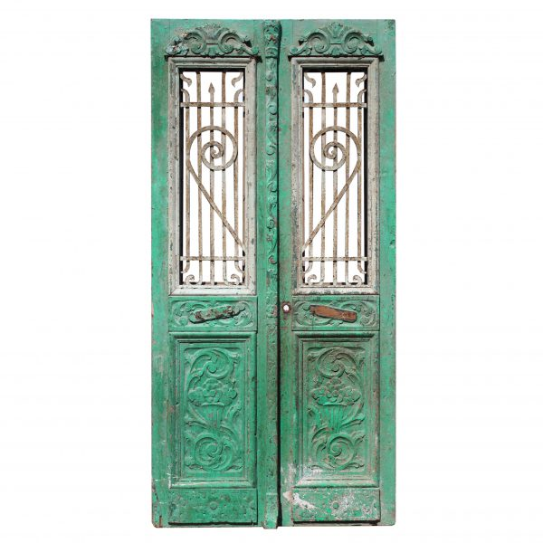 "Pair of Antique 42"" French Colonial Doors with Iron Inserts-0"