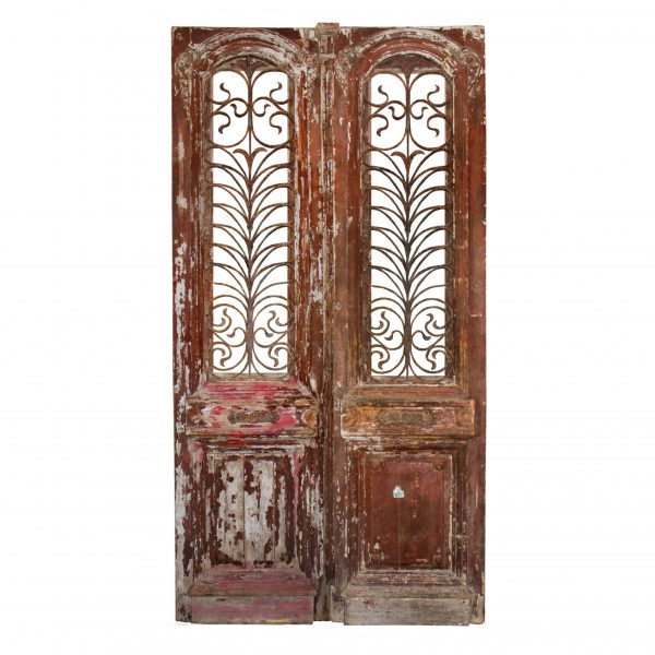 """Substantial Pair of Antique 46"""" French Colonial Doors with Iron Inserts-0"""