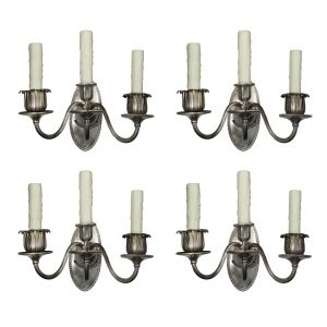 Matching Pairs of Antique Silver-Plated Three-Arm Sconces, c. 1905-0