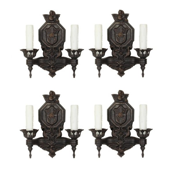 Matching Pairs of Antique Figural Double-Arm Sconces with Birds-0