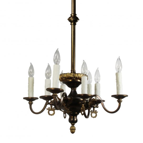 Antique Transitional Brass Chandelier, Figural-0