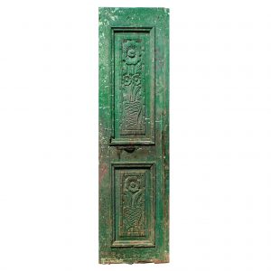 "Salvaged 25"" French Colonial Door with Carved Panels-0"