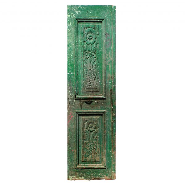 """Salvaged 25"""" French Colonial Door with Carved Panels-0"""