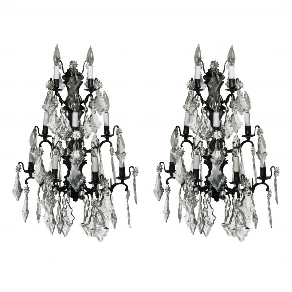 Substantial Pair of Bronze Vintage Sconces with Crystal Prisms-0