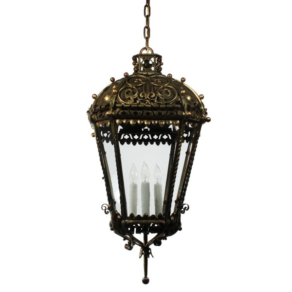 SOLD Substantial Antique Brass Three-Light Lantern Chandelier, Early 1900s-0