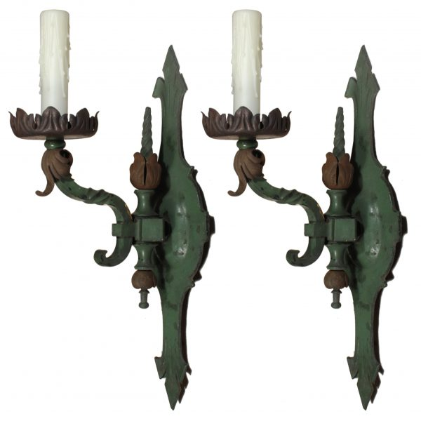 Pair of Antique Cast Bronze Single-Arm Sconces-0