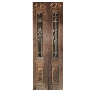 """Pair of 33"""" Antique Figural Doors with Iron Inserts-0"""