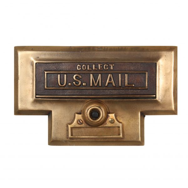 Antique U.S. Mail Letter Slot, Cast Bronze-0