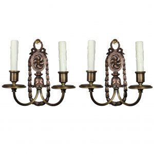 Antique Pair of Bronze Double-Arm Sconces, E.F. Caldwell-0