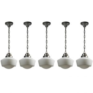 Petite Antique Schoolhouse Pendant Lights, Darkened Nickel-0