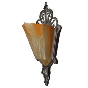 Matching Antique Art Deco Slip Shade Sconces-0
