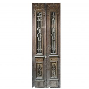"""Reclaimed Pair of 34"""" Antique Figural Doors with Iron Inserts-0"""