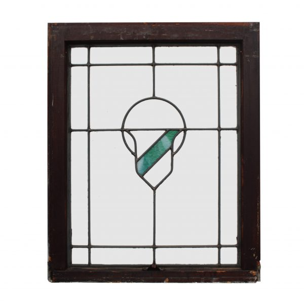 Antique American Arts & Crafts Stained Glass Windows with Shield-0