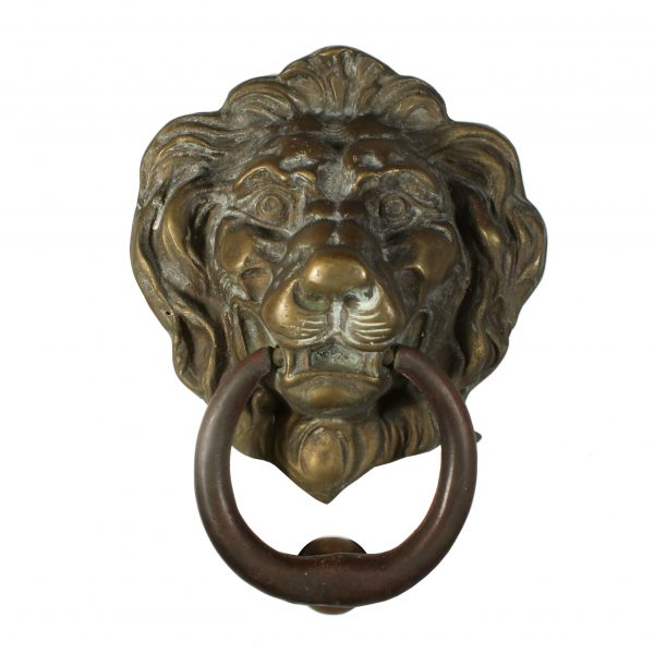 Antique Cast Bronze Lion Door Knocker-0
