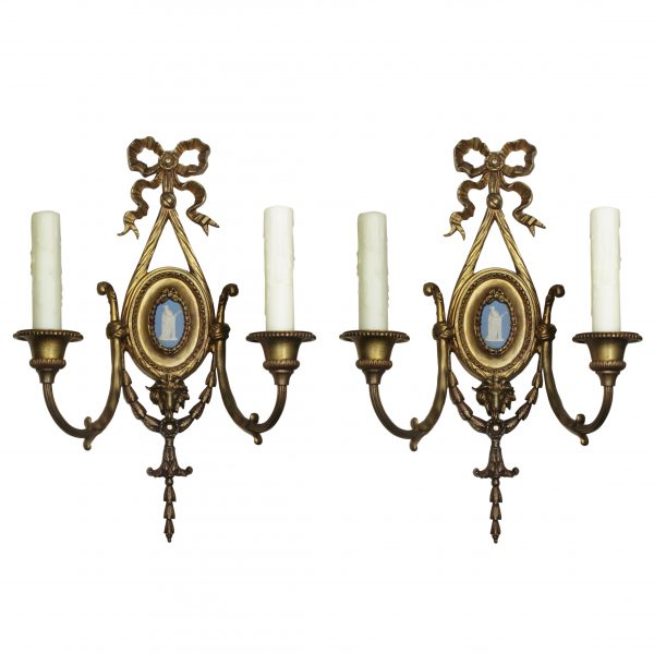 Pair of Antique Gilded Bronze Figural Sconces with Wedgwood Plaques, Early 1900's-0