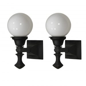 SOLD Pair of Antique Exterior Sconces with Glass Globes-0