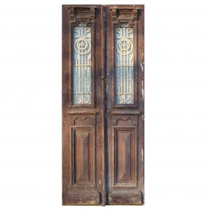 """Pair of Antique 38"""" Doors with Iron Inserts-0"""