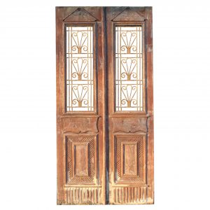 "Salvaged 44"" French Colonial Door Pair with Iron Inserts-0"
