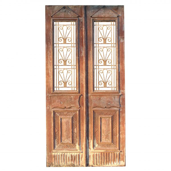 """Salvaged 44"""" French Colonial Door Pair with Iron Inserts-0"""