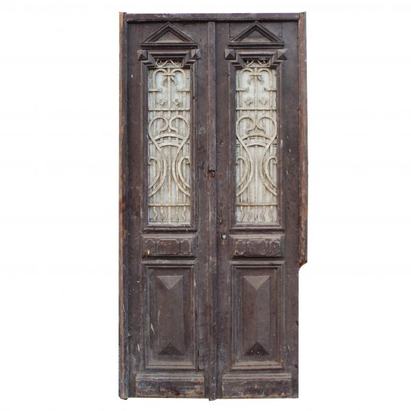 """Pair of 44"""" Antique French Colonial Doors with Iron Inserts-0"""