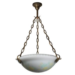 Antique Neoclassical Inverted Dome Chandelier, Original Acid Cut Back Glass-0