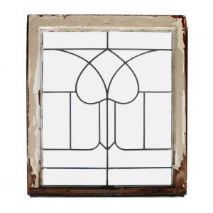 Salvaged Antique American Leaded Glass Windows, Stylized Tulip-0