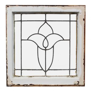 Antique American Leaded Glass Windows, Stylized Flower-0