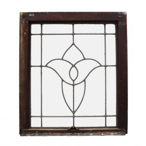 Salvaged Antique American Leaded Glass Windows, Stylized Flower-0