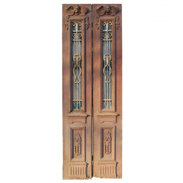 """Salvaged Pair of 34"""" Antique Figural Doors with Iron Inserts-0"""