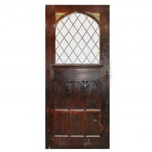"Substantial 47"" Salvaged Oak Door with Gothic Arch Window-0"