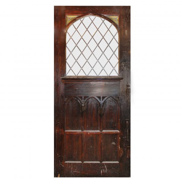 """Substantial 47"""" Salvaged Oak Door with Gothic Arch Window-0"""