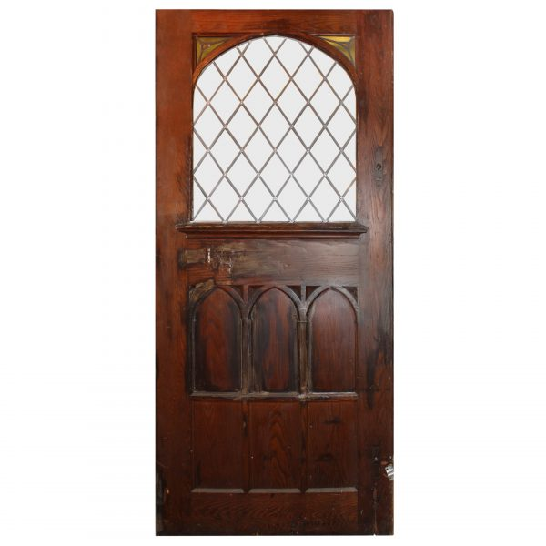 """Large 48"""" Salvaged Oak Door with Gothic Arch Window-0"""