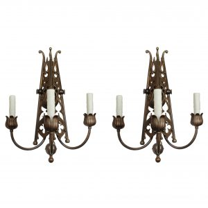 Pair of Substantial Antique Three Arm Sconces, Late 1800s-0
