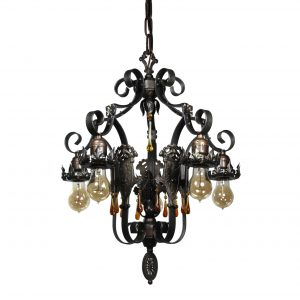 Antique Spanish Revival Five-Light Iron Chandelier, Early 1900s-0
