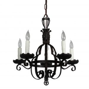 Antique Art Deco Iron Chandelier-0