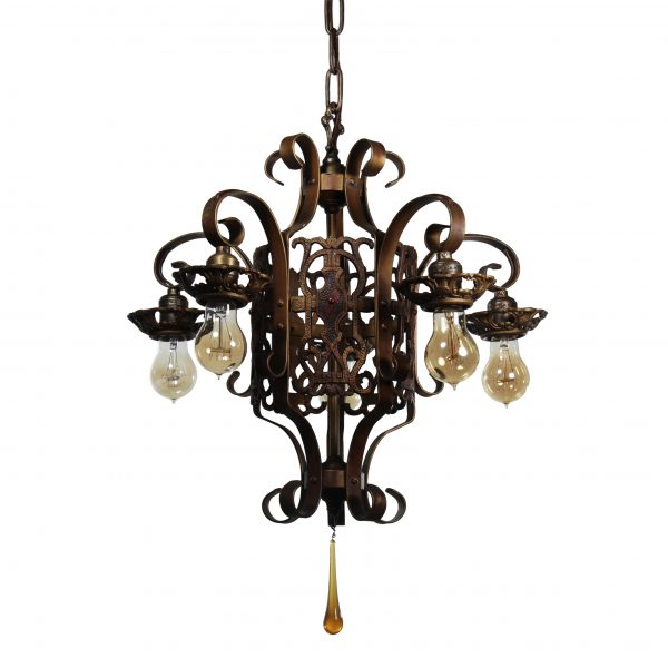 Antique Spanish Revival Five-Light Chandelier, Early 1900s-0