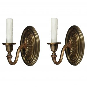 Pair of Antique Brass Neoclassical Sconces, Early 1900s-0