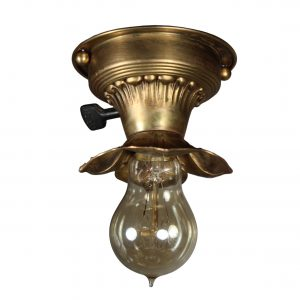 Brass Flush-Mount Light with Exposed Bulb, Antique Lighting-0