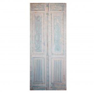 "Antique Pair of 39"" Carved French Doors-0"