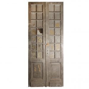 "Salvaged Pair of Antique 46"" Double Doors with Glass-0"