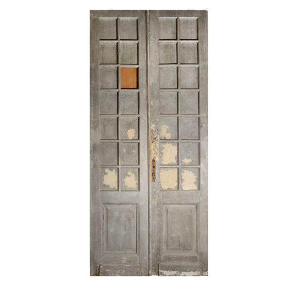 "Reclaimed Pair of Antique 46"" Double Doors with Glass-0"