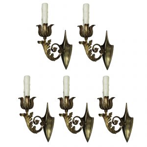 Antique Cast Brass Sconces, c. 1910-0